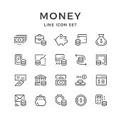 Set line icons of money isolated on white. Vector illustration