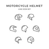 Set line icons of motorcycle helmet isolated on white. Vector illustration