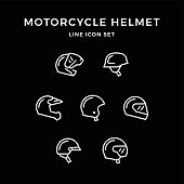 Set line icons of motorcycle helmet isolated on black. Vector illustration