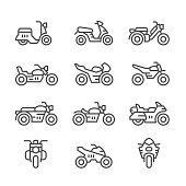 Set line icons of motorcycles isolated on white. This illustration - EPS10 vector file.