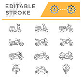 Set line icons of motorcycles isolated on white. Editable stroke. Vector illustration