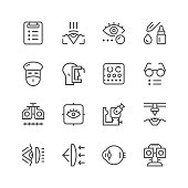Set line icons of ophthalmology isolated on white. Vector illustration