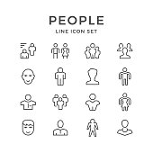 Set line icons of people isolated on white. Vector illustration