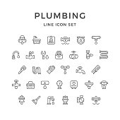 Set line icons of plumbing isolated on white. This illustration - EPS10 vector file.