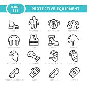 Set line icons of protecting equipment isolated on white. This illustration - EPS10 vector file.