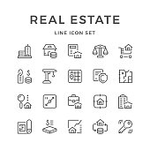 Set line icons of real estate isolated on white. Vector illustration