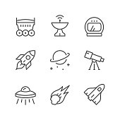 Set line icons of space isolated on white. Vector illustration