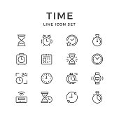 Set line icons of time isolated on white. Vector illustration