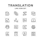 Set line icons of translation isolated on white. Vector illustration