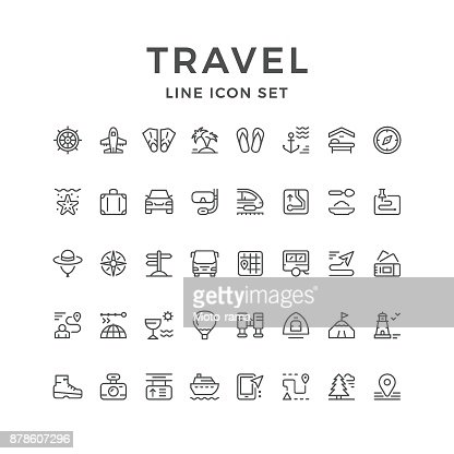 Set line icons of travel : stock vector
