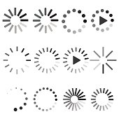 Set Loading icons. Vector signs.
