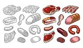 Set meat products. Brisket, sausage, steak, chicken leg, ribs. Vintage color and black vector engraving illustration. Isolated on white background.