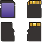 Stylish icons memory card, front and back sides, vector illustration.