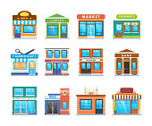 Set modern city building facade: bakery, library, market, pharmacy, barber shop, kindergarten, school, bank, polyclinic, police mail cafe Services for people Urban landscape Vector illustration