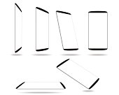 Set new smartphones different angles views isolated on white template. Vector illustration. EPS 10. No transparency. No gradients. Raw materials are easy to edit.