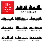 10 cities of United States of America #3, detailed silhouettes, vector illustration.
