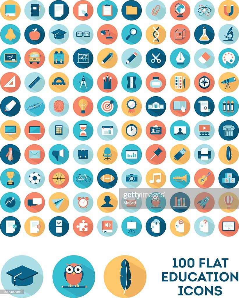 set of 100 flat style education icons