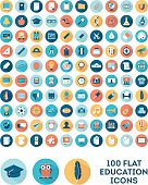 set of 100 flat style education icons, vector illustration