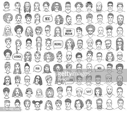 Set of 100 hand drawn and diverse faces : stock vector