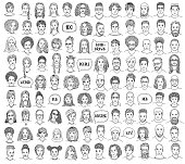 Set of 100 hand drawn faces, colorful and diverse portraits of people of different ethnicities