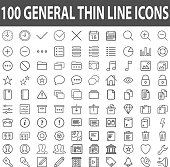 Set of 100 Thin Line Stroke General Icons