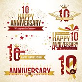 Set of 10th anniversary design elements.