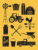 Realistic and highly detailed silhouette illustrations of farm tools, buildings and vehicles.