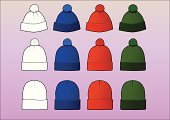 Set of 12 assorted beanies, divided in 3 styles/sizes. Each style has its own layer and contains a white, easily modifiable template. The colors are red, blue and green.