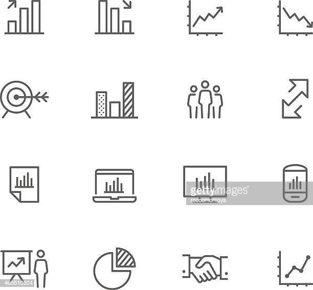 Set of 12 black-and-white business icons
