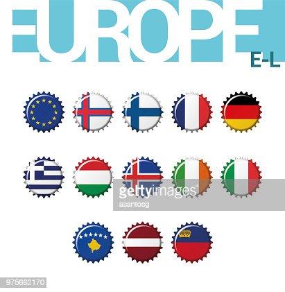 Set Of 13 Bottlecap Flags Of Europe Set 2 Of 4 Vector Illustration