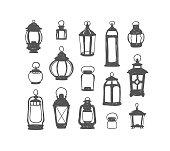 Set of 15 vector retro lanterns. Black on white doodle illustration