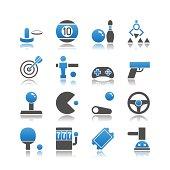 Set of 16 Arcade simple vector icons, including Air Hockey, Billiards, Bowling, Claw Machine, Darts, Foosball, Gamepad, Gun, Joystick, Video Game, Pinball, Racing Game, Ping Pong, Slot Machine, Ticket
