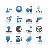 Set of 16 Arcade simple vector icons, including Air Hockey, Billiards, Bowling, Claw Machine, Darts, Foosball, Gamepad, Gun, Joystick, Video Game, Pinball, Racing Game, Ping Pong, Slot Machine, Ticket