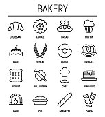 Set of 16 bakery thin line icons. High quality pictograms of food. Modern flat style icons collection. Bread, croissant, baguette, pie, cake, muffin, pretzel and others.