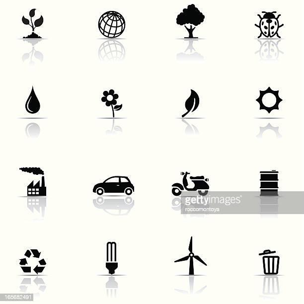 Set of 16 black environmental icons on white background