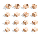 Set of 16 realistic isometric cardboard boxes with texture. Realistic boxes in an isometric style of design. Industrial box. Boxes for delivery by mail. Templates box for design