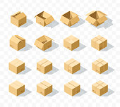 Set of 16 realistic isometric cardboard boxes with transparent shadow. Realistic boxes in an isometric style of design. Industrial box. Boxes for delivery by mail. Templates box for design