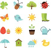 Collection of vector icons representing spring, nature and gardening.