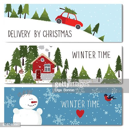 Set of 3 lovely winter cards templates. : Arte vectorial