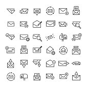 Set of 36 mail thin line icons. High quality pictograms of letter. Modern outline style icons collection. Contact, email, send, message, etc.