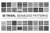 Set of 36 tribal seamless patterns. Indian geometric backgrounds. Stylish Navajo fabric. Modern abstract Wallpaper. Vector illustration. Black and white version