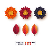 Set of 3d autumn leaves with flowers. Decorative elements for autumnal greeting cards, backgrounds. Orange, burgundy, violet colors. Isolated on white. Vector illustration.