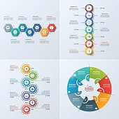 Set of 4 business infographic template with 7 steps, processes, parts, options. Vector illustration.