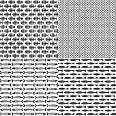 Set of 4 fish themed patterns. Black-and-white. Vector illustration