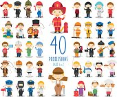 Kids Vector Characters Collection: Set of 40 different professions in cartoon style. Part 1 of 2.