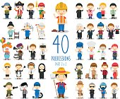 Kids Vector Characters Collection: Set of 40 different professions in cartoon style. Part 2 of 2.