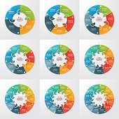 Set of 4-12 steps pie chart circle infographic templates. Business concept. Vector illustration.