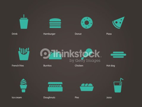 Set Of 4x3 Fast Food Icons On Dark Gray Background Vector