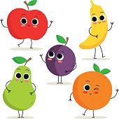 Adorable collection of five cartoon fruit characters isolated on white: apple, pear, plum, banana and orange