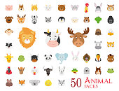 Set of 50 Animal Faces in cartoon style